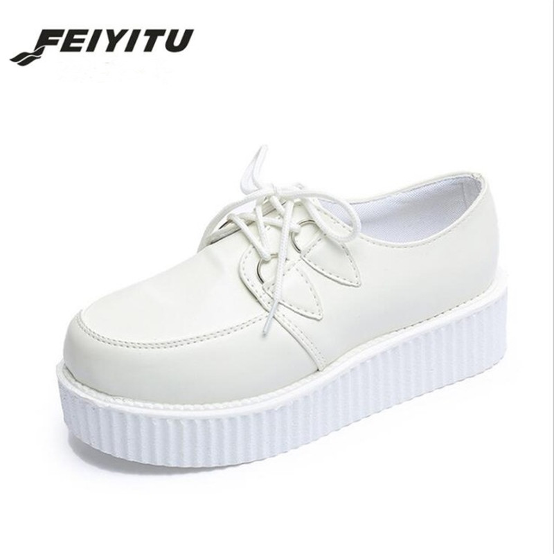 feiyitu Spring Solid Casual Women Shoes Flat Platform Lace-Up Creepers Ladies Shoes Round Toe Girls Shoes цена