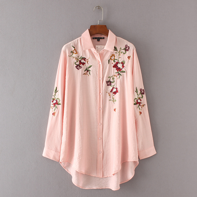 2017 Vintage Pink Floral Flower Print Embroidery Asymmetry Hem Blouse  Trendy Women Turn-down Collar
