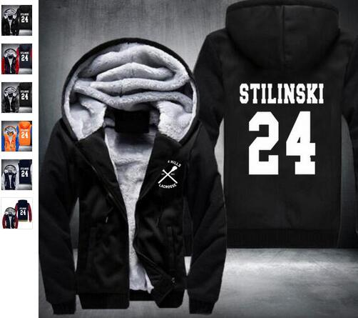 New BEACON HILLS LACROSSE Jacket men Stiles Stilinski Teen 24 Winter Hoodie Thicken Zip up wholesale