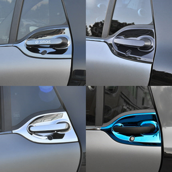 Car Styling Stainless Steel Outer Door Bowl And Handle Protective Sticker For Mercedes new smart 453 fortwo modeling accessories