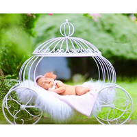 Newborn Baby Photography Props Accessories Iron Pumpkin Carriage Studio Photography Props for Baby Photo Shoots Posing Sofa Bed