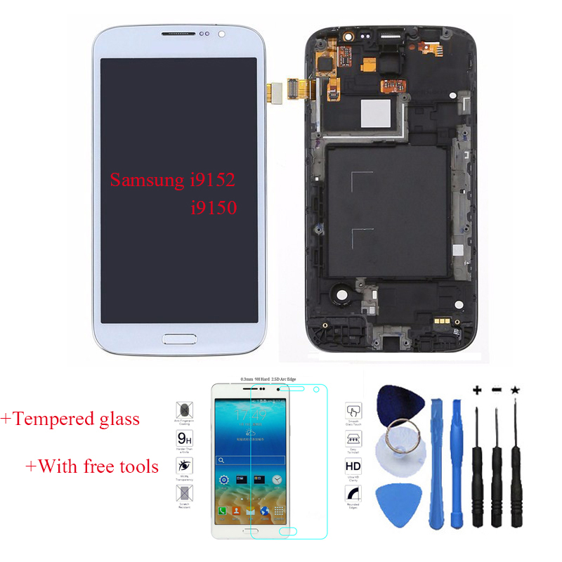 OEM LCD Display Touch Screen Digitizer Assembly With Frame For Samsung GALAXY Mega 5.8 i9150 I9152 White + Tempered Glass