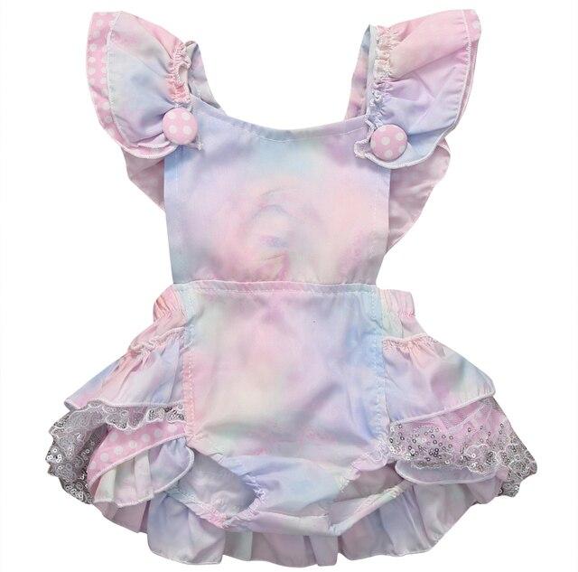 Colorido sin mangas recién nacido tutú Floral Romper Bowknot Backcross Jumpsuit conjunto de ropa