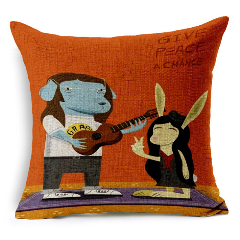2016 Cushion Without Core Custom Linen Decorative Almofadas Throw Pillows  Monkey Sofa Chair Cushions Home Decor
