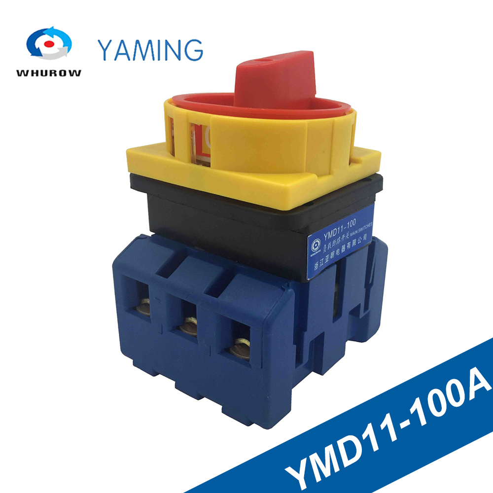Isolator switch YMD11-100A load break universal power cut off on-off 100A 3P changeover cam sliver contacts