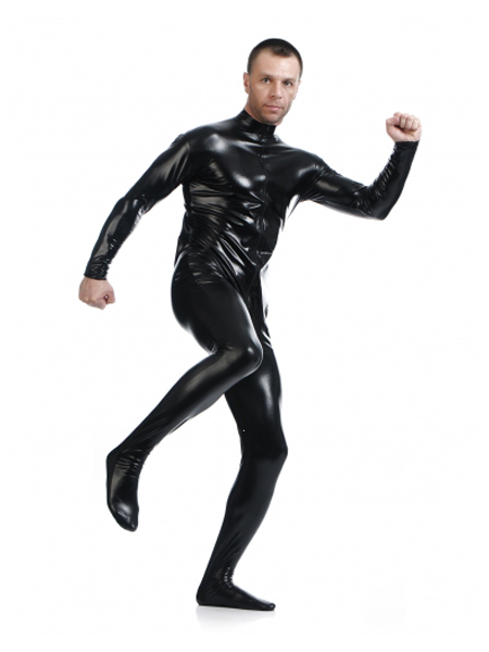 Hot Sale Black Zentai Shiny Metallic Front Zipper Tights Cosplay Zentai Suit