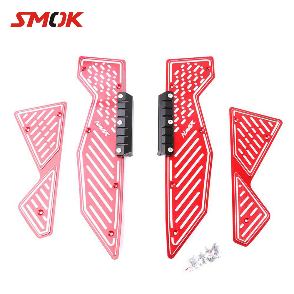 SMOK For Yamaha Nmax 125 155 2015 2016 2017 Motorcycle CNC Aluminum Alloy Footrest Footboard Step Autobike Foot Plate for yamaha n max 155 nmax 155 n max 155 2015 2016 motocross accessories footrest motorcycle footboard step autobike foot plate
