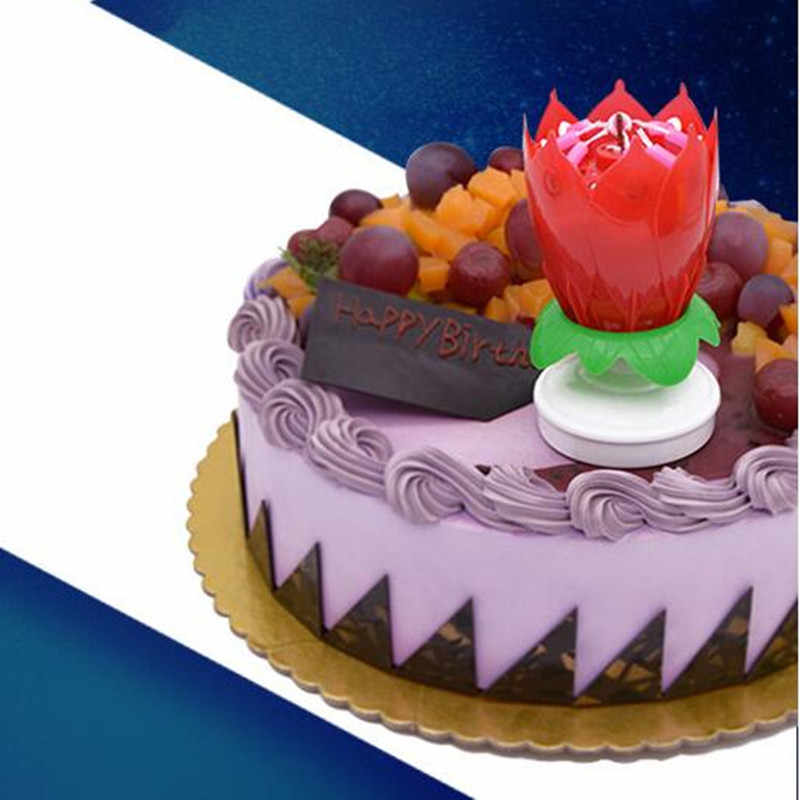 Beautiful Lotus Flower Rotatable Music Happy Birthday Candle Light Home Party Decoration Cake Art Candles Lamp