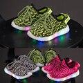 Crianças respirável sapatos de malha net led light up casual shoes shoes para meninos da criança meninas sapatilhas com luzes 1 ~ 8 anos de idade
