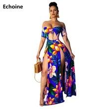 Women Floral Print Maxi Dress Sexy Off-shoulder High Split Long Dress Femme Robe Beach Dress Hollow Out Strapless Vestidos Boho