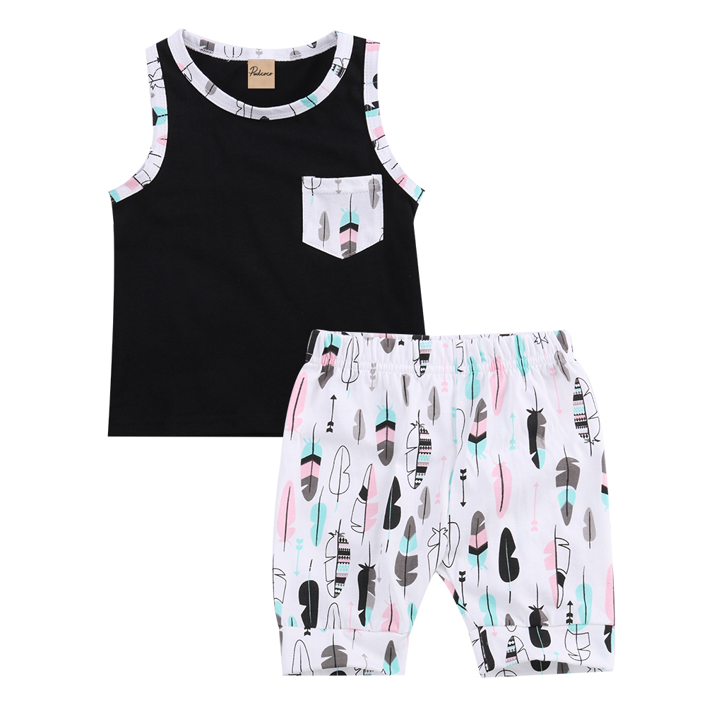 2pcs Kids Boy Summer Clothes Set Baby Boy Sleeveless Print Vest T-shirt Tops+Bottom Shorts Outfits Kids Clothing Sets