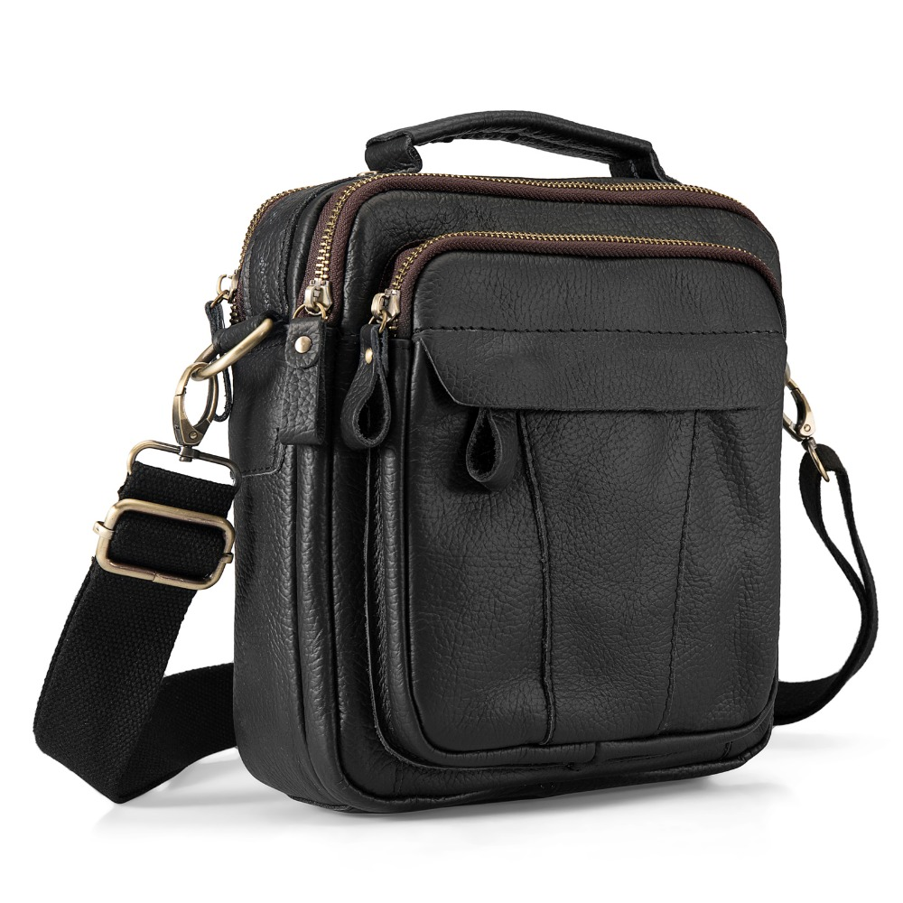 Quality Leather Male Casual Design Shoulder Messenger bag Cowhide Fashion Cross-body Bag 8