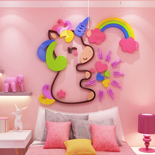 Creative Colorful cartoon INS acrylic wall sticker personality 3D stickers bedroom bedside background surface decoration