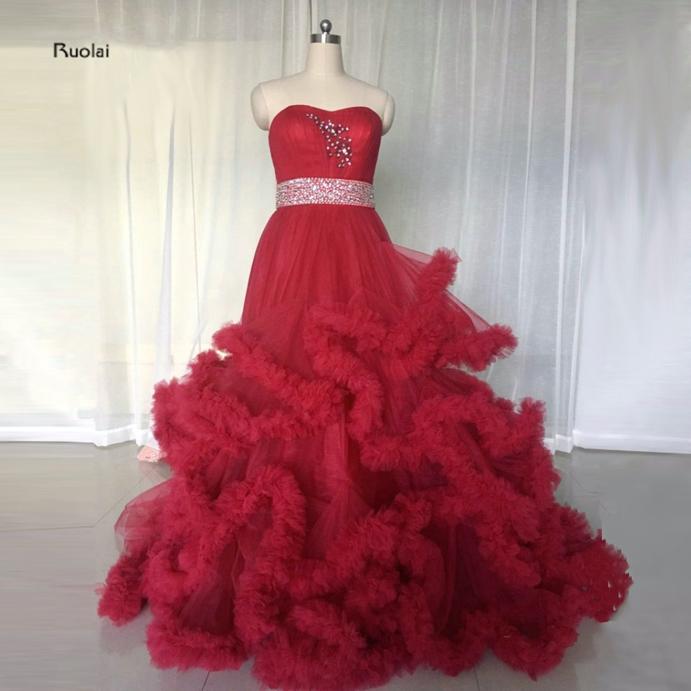 New Arrival Charming 2017 Red Tulle Beading Belt Sweetheart Ruffles Ball Gown Formal Long Evening Dress For Wedding Party