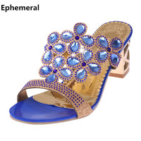 Women Shoes Rhinestones Peep Toe Sandals High Heels Summer 2018 Cheap Slides Black Green Gold Plus