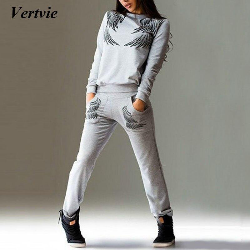 Vertvie 2 шт. набор печатных Для женщин спортивные костюмы с длинными рукавами в стиле пэчворк с капюшоном работает комплекты тренировочные шта... ...