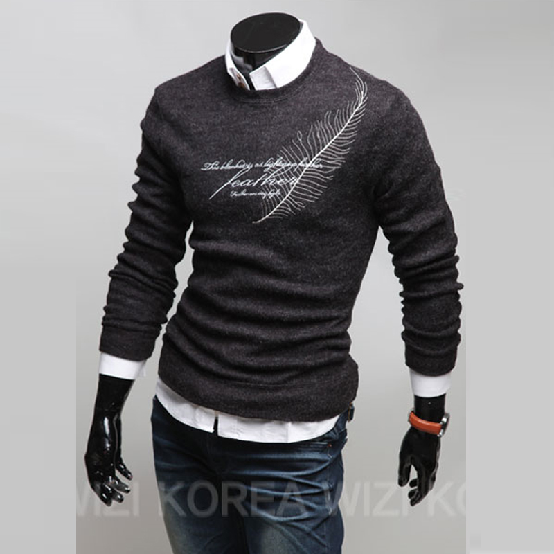 Sweater Pullover Men 2018 Male Brand Casual Slim Sweaters Men Letters Printed Hedging O-Neck MenS Sweater XXL