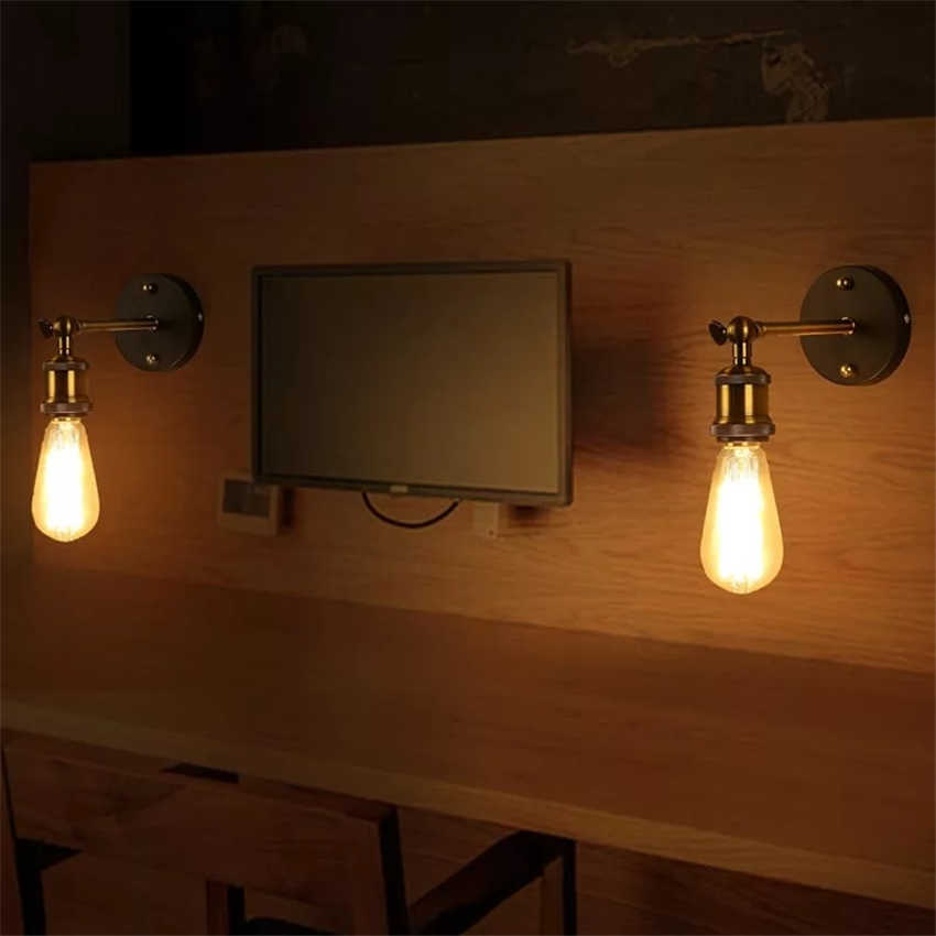 ヴィンテージレトロなロフト AC85-265V 壁ライト鉄金属壁ランプの寝室のベッドサイド、廊下通路壁燭台ランプ照明器具
