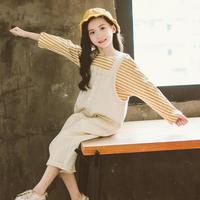 2020 Teenage Girls Clothing Set Spring Girls Clothes Clothing For Teens Kids Clothes Girls 8 To 12 Striped T shirts + Jumpsuits