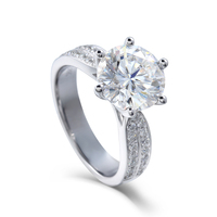 Transgems Moissanites Lab Grown Diamond Engagement Ring 3 CT D Color Real Diamond Accent 14k White