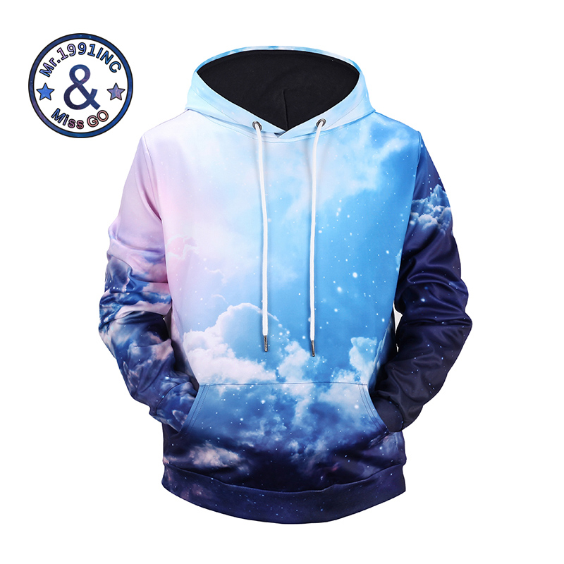 New Arrival Mr.1991INC&Miss GO 3D Men Hoodies Cloud Sky Printing Full Sleeve 94.4% Polyester 5.6% Spandex Popular Sweatshirts