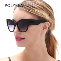 POLYREAL Oversized Women Sunglasses Cat Eye Brand Designer Vintage Fashion Gradient Tom Sun Glasses Lady TF