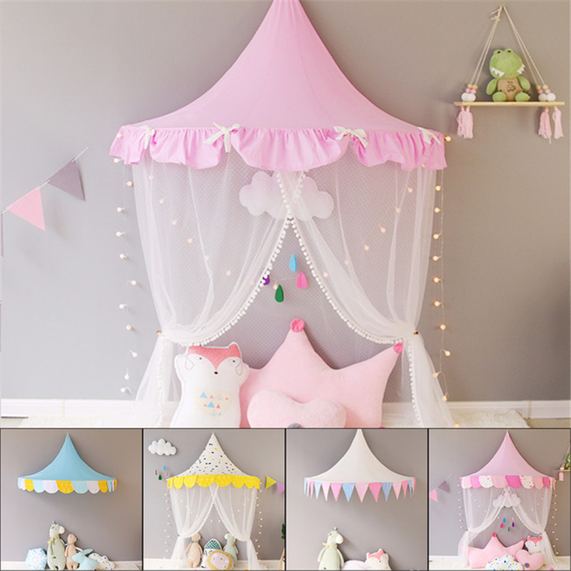 Children Teepee Tipi Tent For Kids Canopy Drapes Cribs Baby Cabin Girl Princess Cottages Canopy Bed Curtains Nursery Sofa Decor image