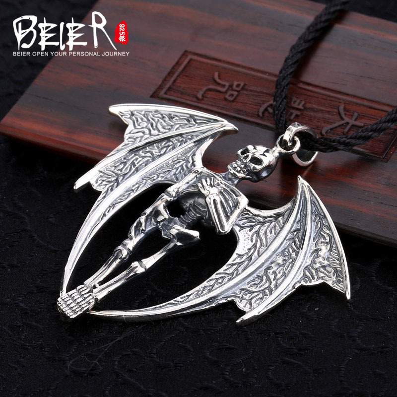 Beier new store 100% 925 thai silver sterling skull pendant necklace can be fold fashion jewelry free give rope A1894