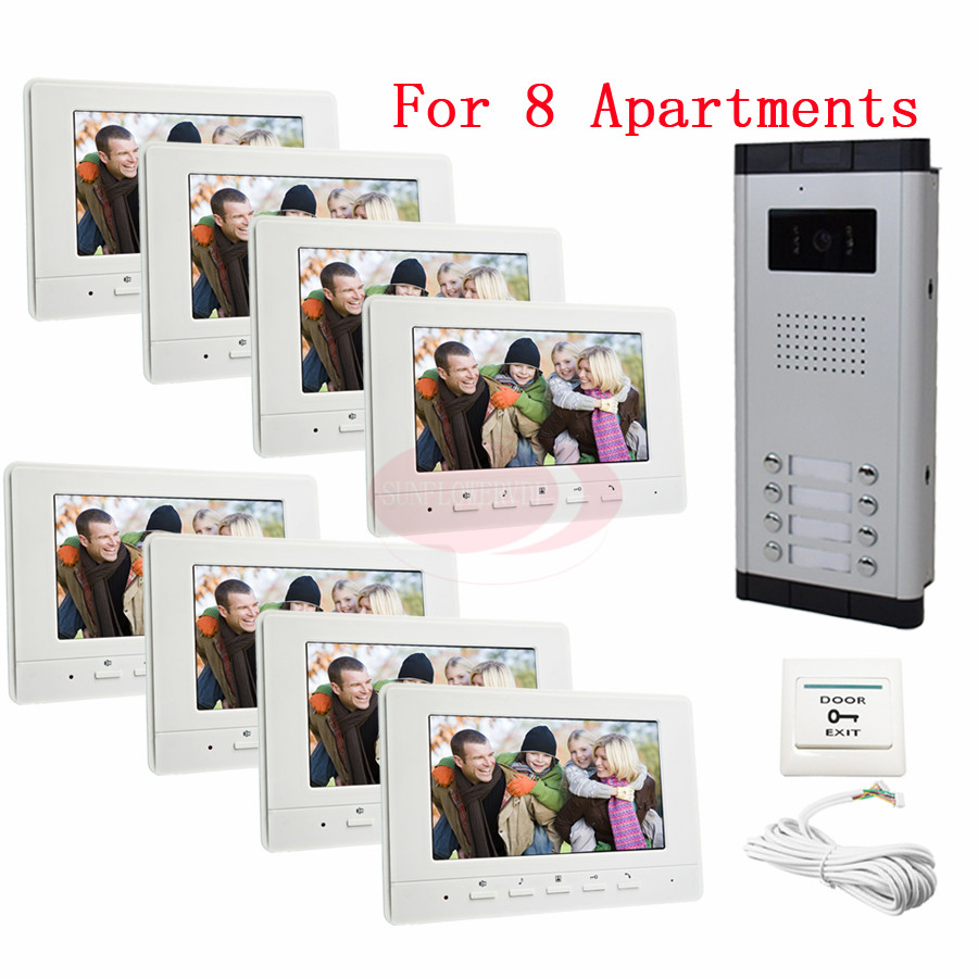 Для 8 квартир безопасности дома видео дверь домофон Дверные звонки Камера с 7 ЖК-Мониторы ИК Камера в наличии!