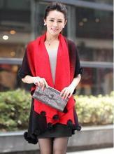 New winter cashmere wool jacket imitation rabbit fur ball knitted shawl knit cardigan women 6302-45