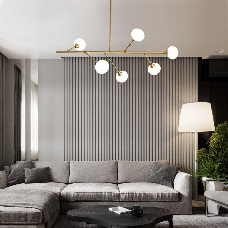 Post-modern Golden/Black LED chandelier ceiling Nordic dining living room hanging lights home bedroom fixtures