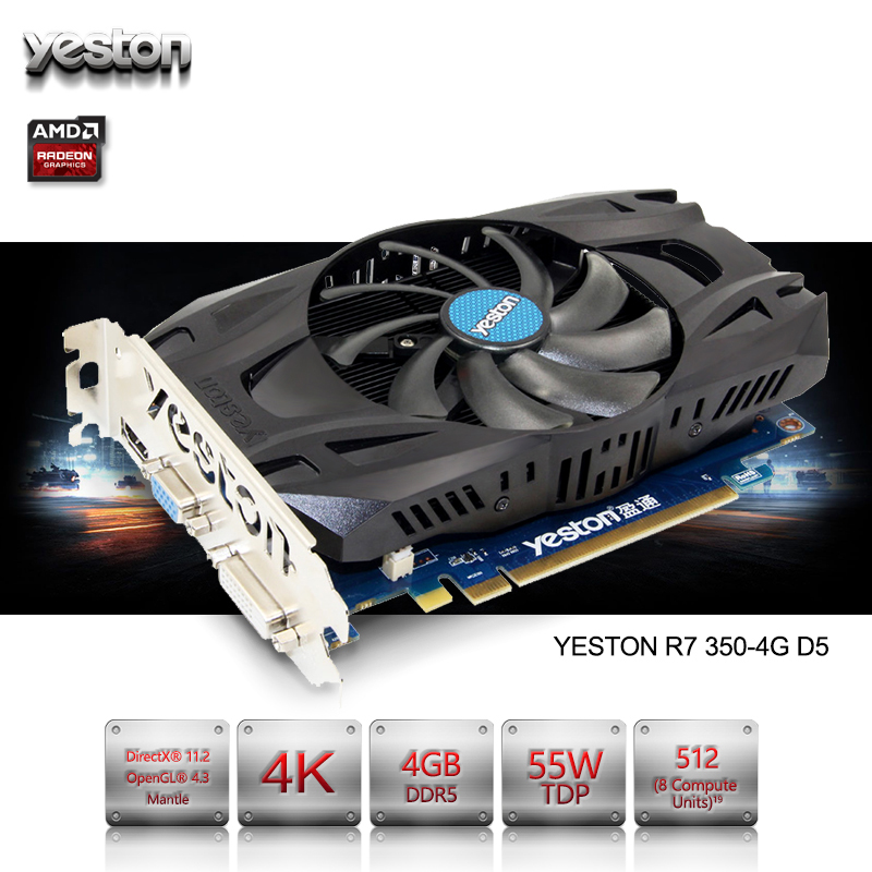 Yeston Radeon R7 350 GPU 4GB GDDR5 128bit Gaming Desktop computer PC Video Graphics Cards support VGA/DVI/HDMI PCI-E X16 3.0 original gpu veineda graphic card hd6850 2gb gddr5 256bit game video card hdmi vga dvi for ati radeon instantkill gtx650 gt730