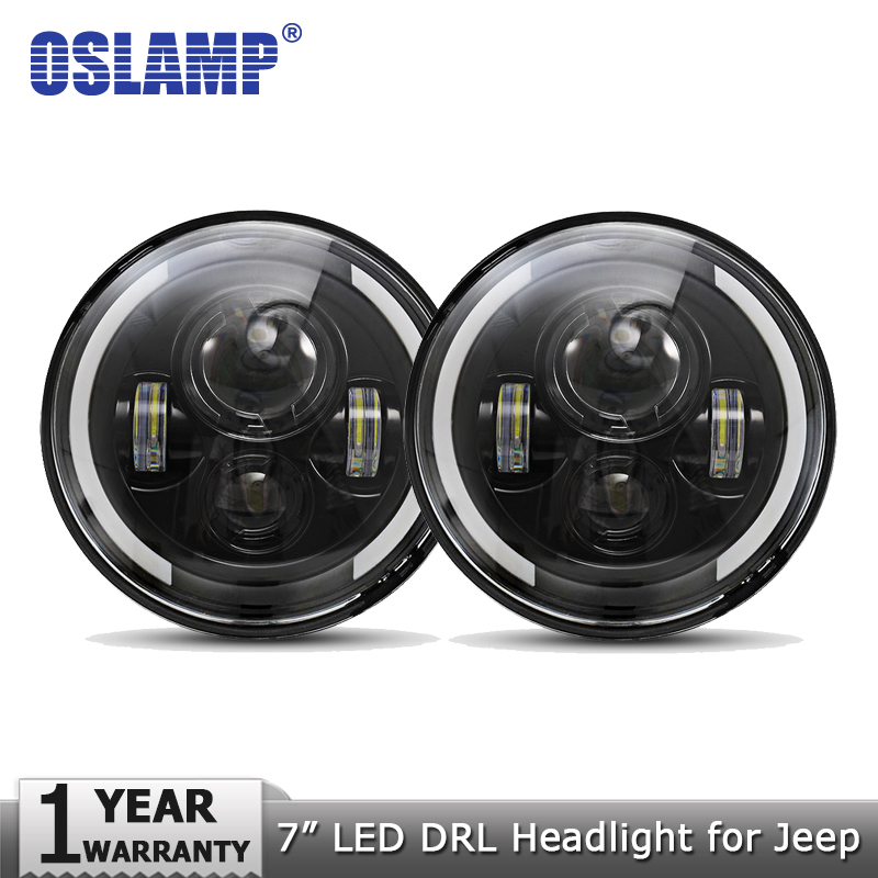 "Oslamp 2stk 7 ""60W LED-lyskastere for Jeep CJ / Wrangler JK Hodelykter Led Kjørelys for Land Rover Defender H4 H13 Hovedlyskastere"