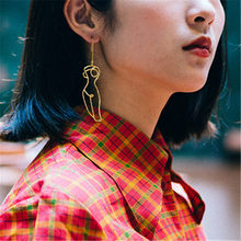 Timlee E022 Personality Creative Design Classic Line Hollow Human Body Metal Long Earrings Temperament Accessories Wholesale(China)