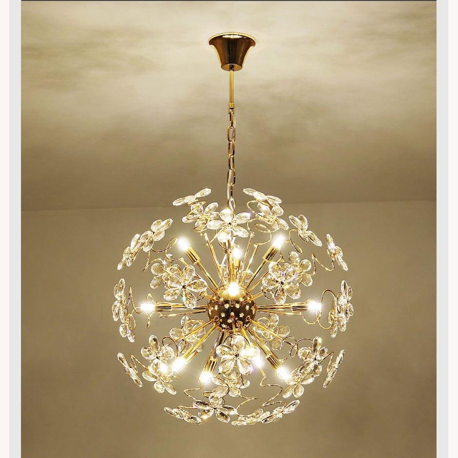 Cristal levou luz do candelabro lâmpada faísca bola dandelion sala de jantar sala de loja de roupas mostrar janela decorativa pendurar lightin - 4