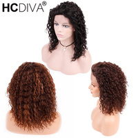 Mongolian Kinky Curly Lace Frontal Wigs 130% Density Remy Human Hair Pre Plucked With Baby Hair 12inch Lace Wig For Woman HCDIVA