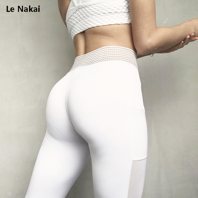 Le Nakai White Lace Waistband Big Booty Yoga Pants For Women Mesh Side Pocket Yoga Fitness Leggings Solid Mesh Running Trousers