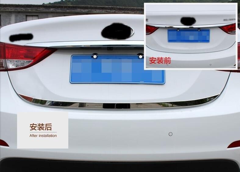 Prix pour Pour Hyundai Elantra 2010 2011 2012 Hayon Arrière Porte Moulure En Acier Inoxydable Porte Arrière tronc garniture de voiture Accessoires