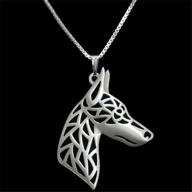 2017 Fashion Doberman Dog Pendant Necklace Hollow Out Cute Animal Pet Charms Memorial Jewelry Chain Necklace