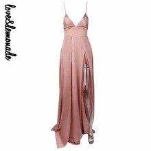 Love&Lemonade Sexy Nude Color V-Necked Irregular Maxi Dress LM0103