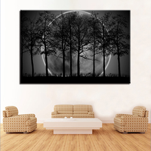 diy diamond painting cross stitch 5D embroidery Crystal mosaic picture Black White Moon Night Psychedelic Forest scenery