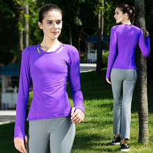 OUFIGA Yoga Shirt Gym Sports Running Clothes For Women Solid Long Sleeve Autumn