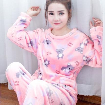 ec7e3d26564 Women Pajamas suit Sleepwear Female winter Autumn Nightgrowns Flannel Thickening  Coral Fleece Long-sleeve Nightdress Cartoon