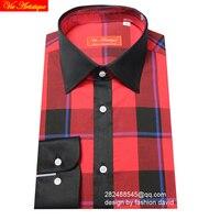 Male Long Sleeve Casual Dress Shirts Men S Big Plus Size Plaid Shirt Scotland Red Checked