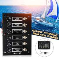 Car Toggle Switch Panel 6 Gang 12V/24V ON OFF Toggle Fuse Rocker Switch Panel Universal For Auto RV Caravan Boat Yacht Marin