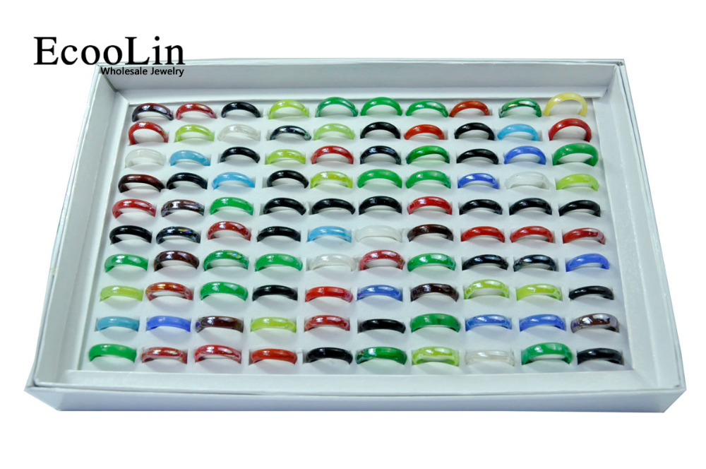 300Pcs EcooLin Jewelry Multicolor Glass Resin Women Girls Rings Lots Mixed Colors Bulk Packs LR4019