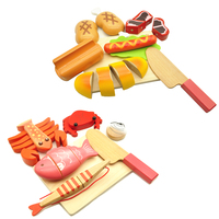 Kids Kitchen Food Set Baby Toys Seafood Fish Bread Hot Dog Food Cutting Children baby Play House Kitchen Toys Gift For Girl