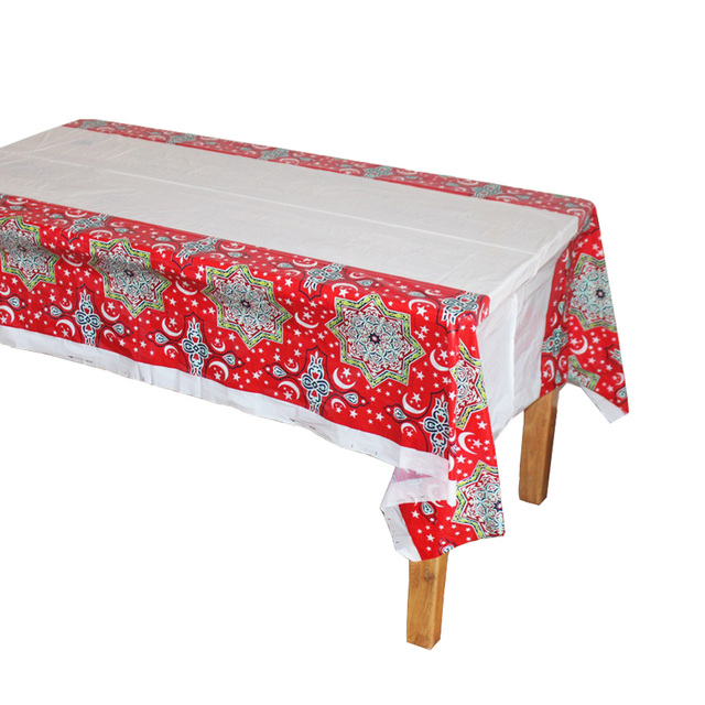 Disposable Plastic Table Cloths Eid Al Fitr Ramadan Cover Tablecloth Waterproof For Moslem Ismdecoration