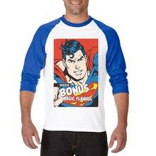 New Popular Funny Cool Tee Three Quarter Raglan Sleeve Casual Men T-Shirt Superman Printed Male Clothing Tops Camisetas Hombre