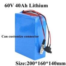 عبوة بطارية ليثيوم 60 فولت 40 أمبير في الساعة مزودة ببطارية ليثيوم BMS 60 فولت 40 أمبير في الساعة لدراجة آلية كهربائية بقدرة 3000 وات دراجة نارية + شاحن 5A